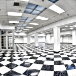 The Mezzamine has over 4,000 sq feet of classic black and white checkered flooring.